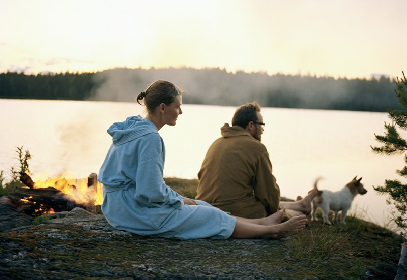 Paula, Lauri and Sulo, summer night after sauna, 2009