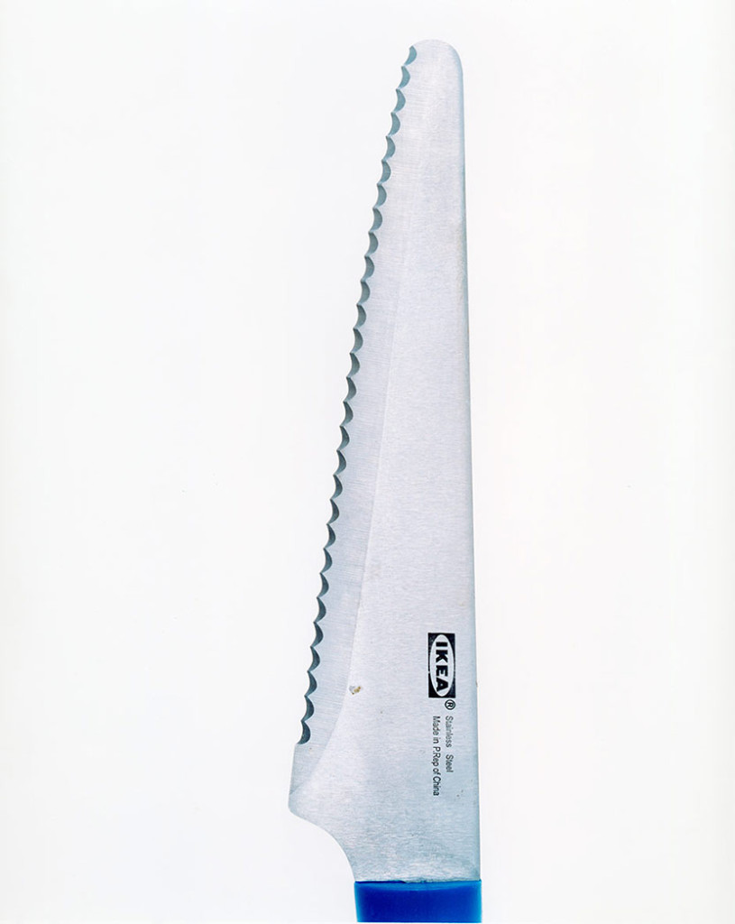 A blue-handled Ikea meatknife, a 15- year-old girl slashed her boyfriend's throat, October '03, 2003